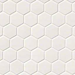 White Glossy 2X2 Hexagon Mosaic - White Tile
