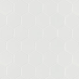 White Matte 2X2 Hexagon Mosaic - White Tile
