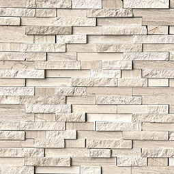 White Quarry Splitface Interlocking Pattern Backsplash Tile