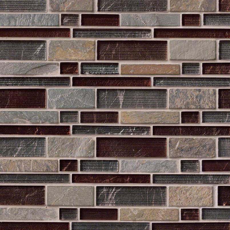 Urbano Interlocking Glass And Stone Backsplash Tile