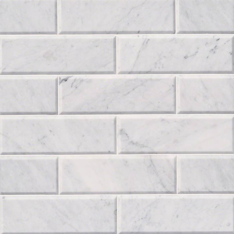 Arabescato Carrara Honed And Big Beveled Subway Tile