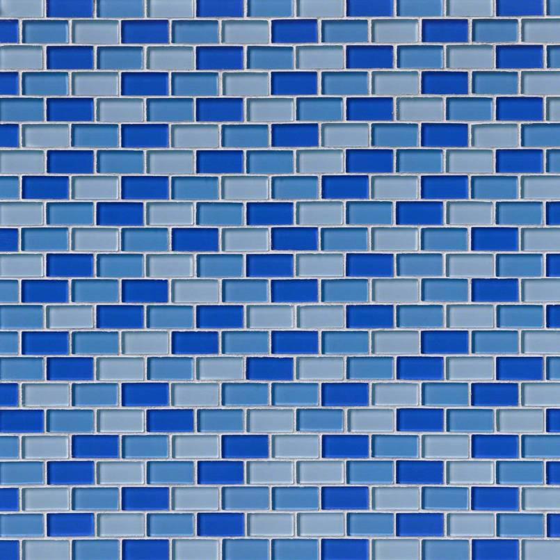 BLUE BLEND BRICK GLASS 1X2X8MM