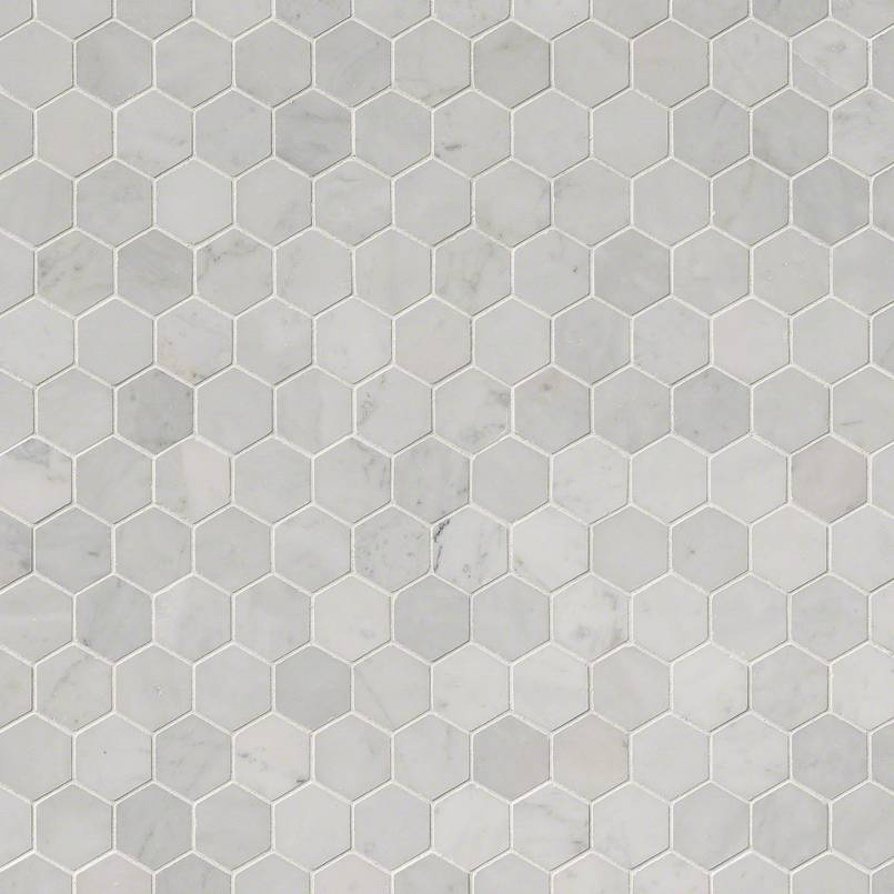 "Carrara White 2"" Hexagon Polished"