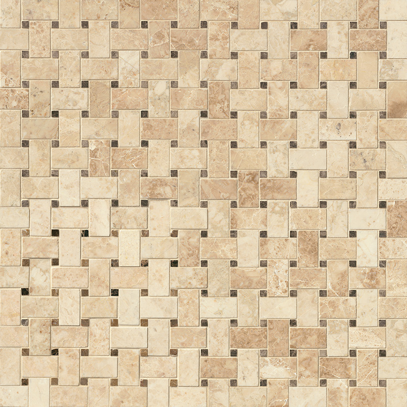 Crema Cappuccino Basketweave Pattern Polished