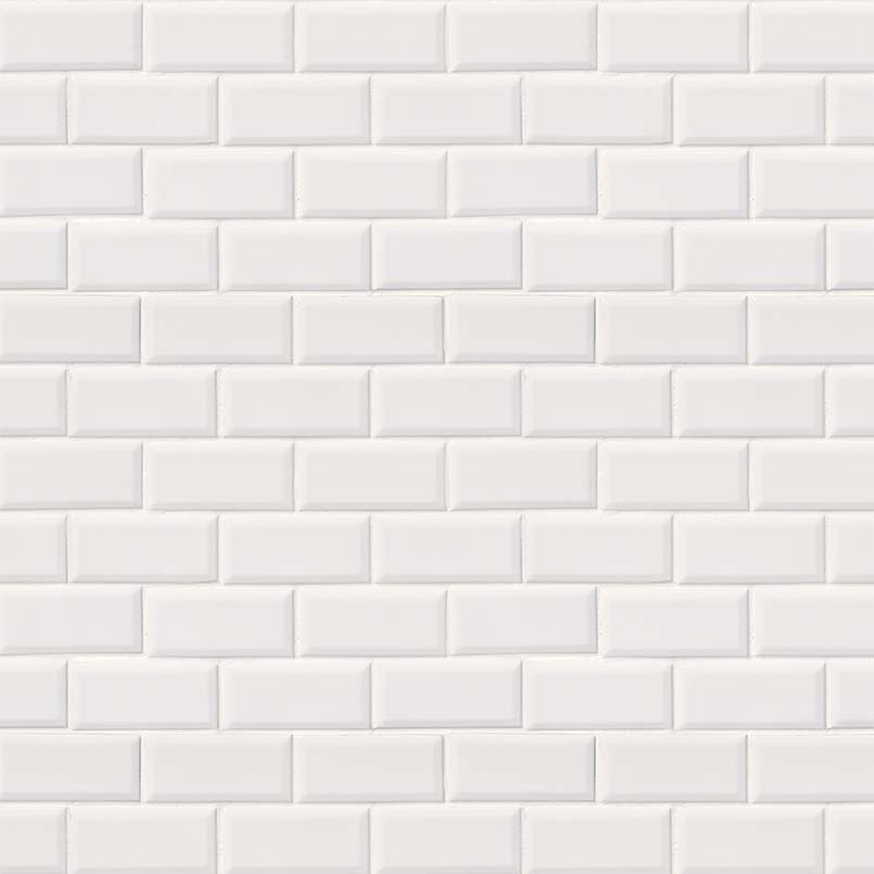 beveled subway tile design | Domino White Glossy Subway Tile Beveled | Subway Tile ...