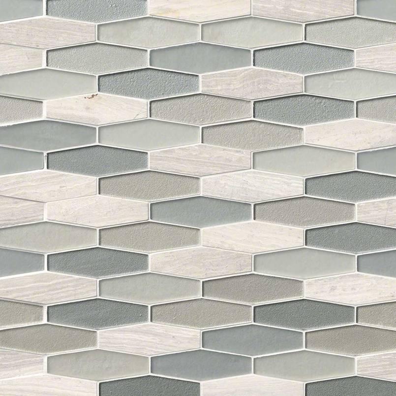 Europa Elongated Hexagon Glass And Stone Backsplash Tile