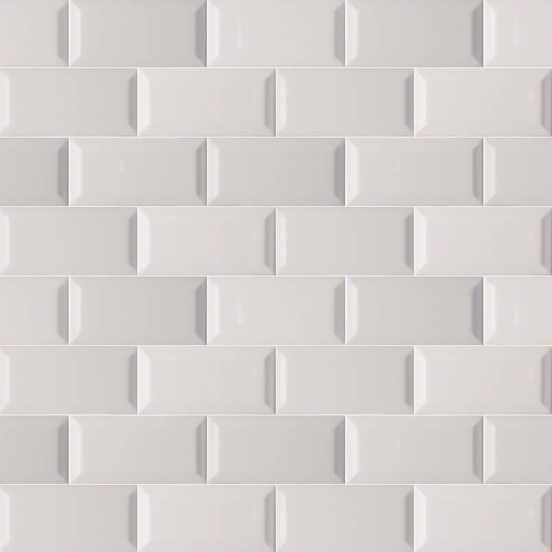 Gray Glossy Subway Tile Beveled 3x6