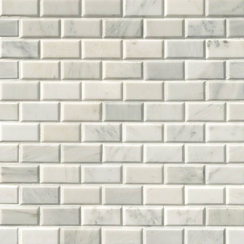 Greecian White Subway Tile Beveled 2x4 Subway Tile
