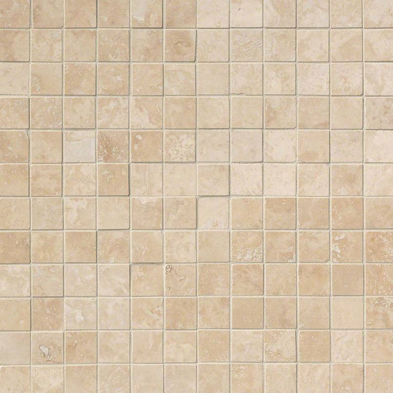 Ivory Travertine 2x2 Honed and Filled in 12x12 Mesh