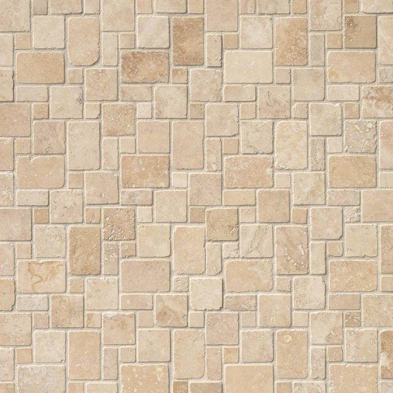 Ivory Travertine Mini Versailles Pattern Tumbled In 12x12 Mesh Variation