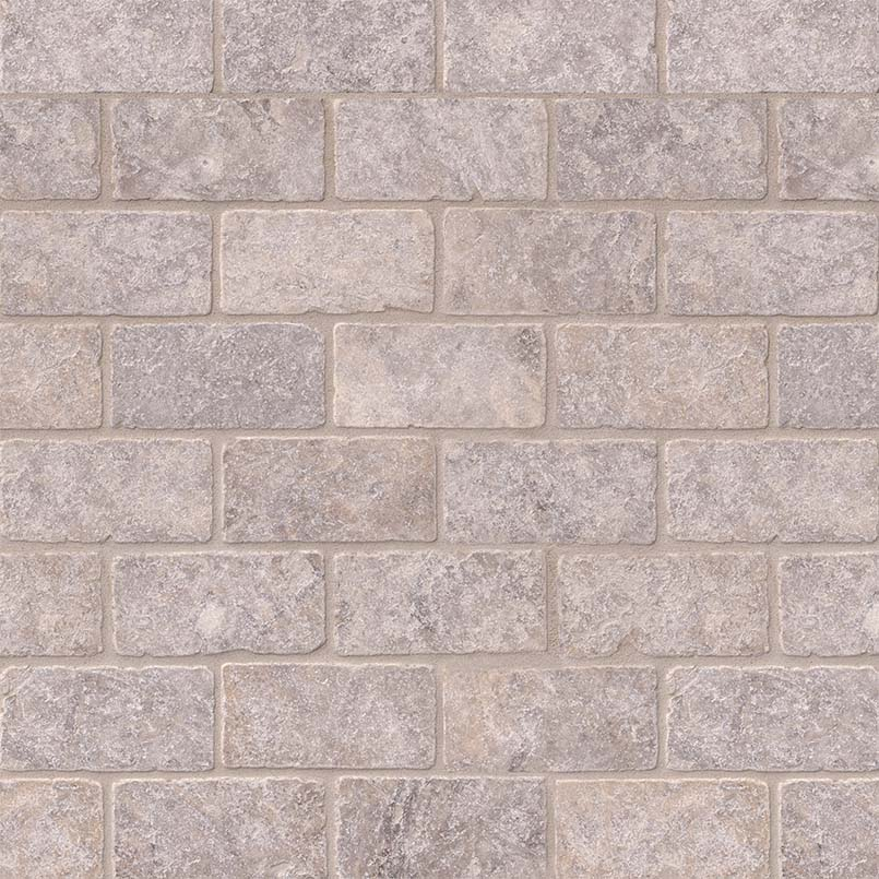 Silver Travertine Subway Tile Tumbled 3x6