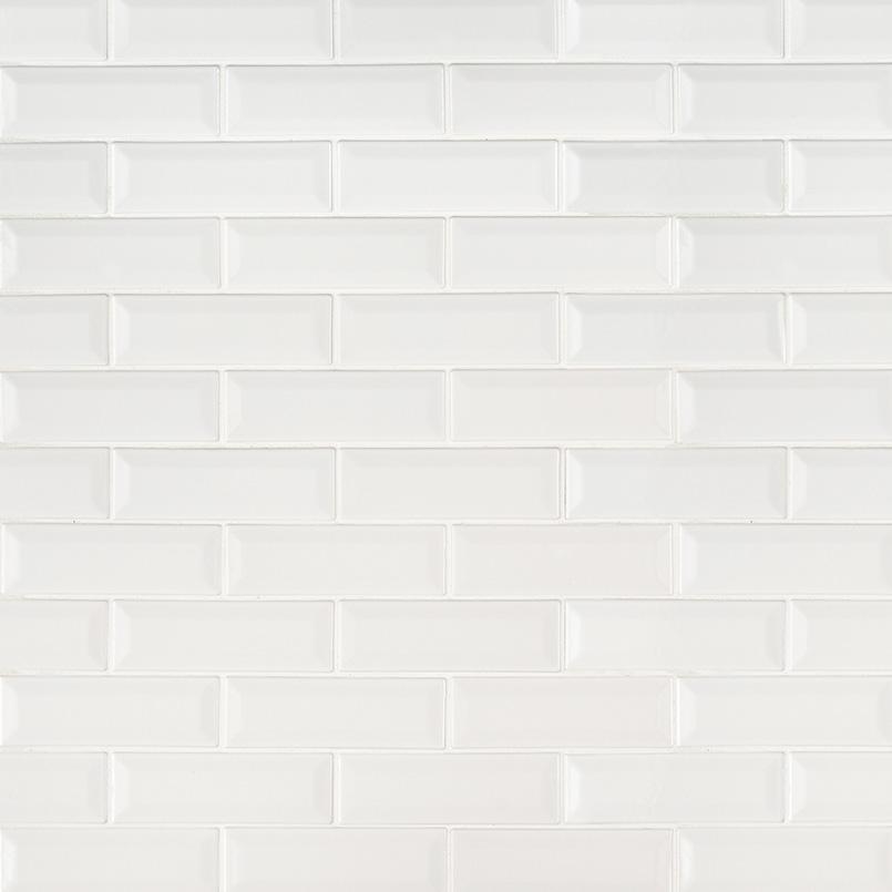 Whisper White Beveled Subway Tile Backsplash Tile