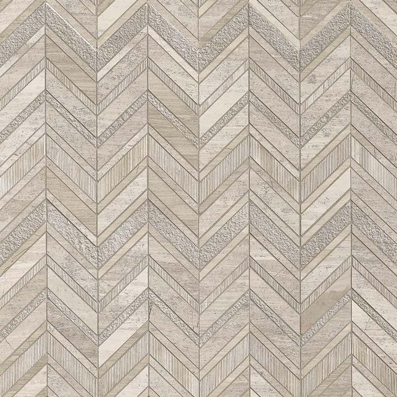 White Quarry Chevron Pattern Marble Backsplash Tile