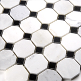 "ARABESCATO CARARRA 2"" OCTAGON WITH BLACK AND WHITE 5/8X5/8"