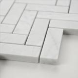 Carrara White 1x3 Herringbone Polished