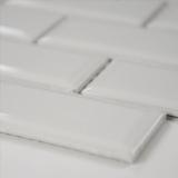 Domino White Glossy Subway Tile Beveled 2x4
