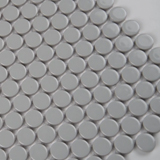 Gray Glossy Penny Round Mosaic
