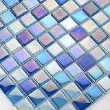 Iridescent Blue Blend Glass Pool Tile