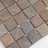 Mixed Slate and Quartzite 2x2 Tumbled in 12x12 Mesh