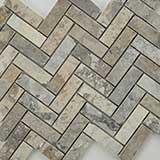 Silver Travertine Herringbone Pattern Honed