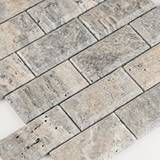 Silver Travertine Subway Tile 2x4