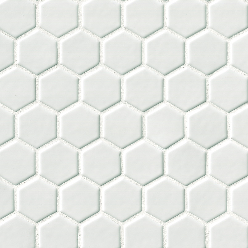 """Whisper White 2"""" Hexagon 8mm"""