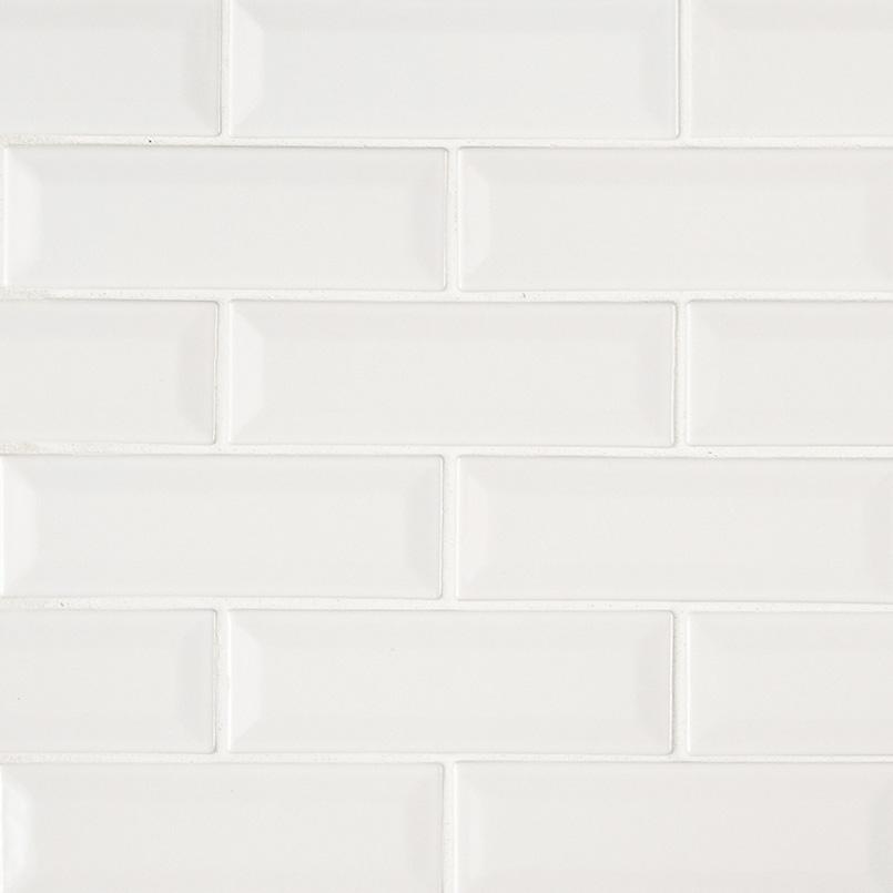 Whisper White Beveled Subway Tile Collection
