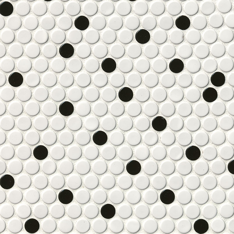 White and Black Glossy Pennyround