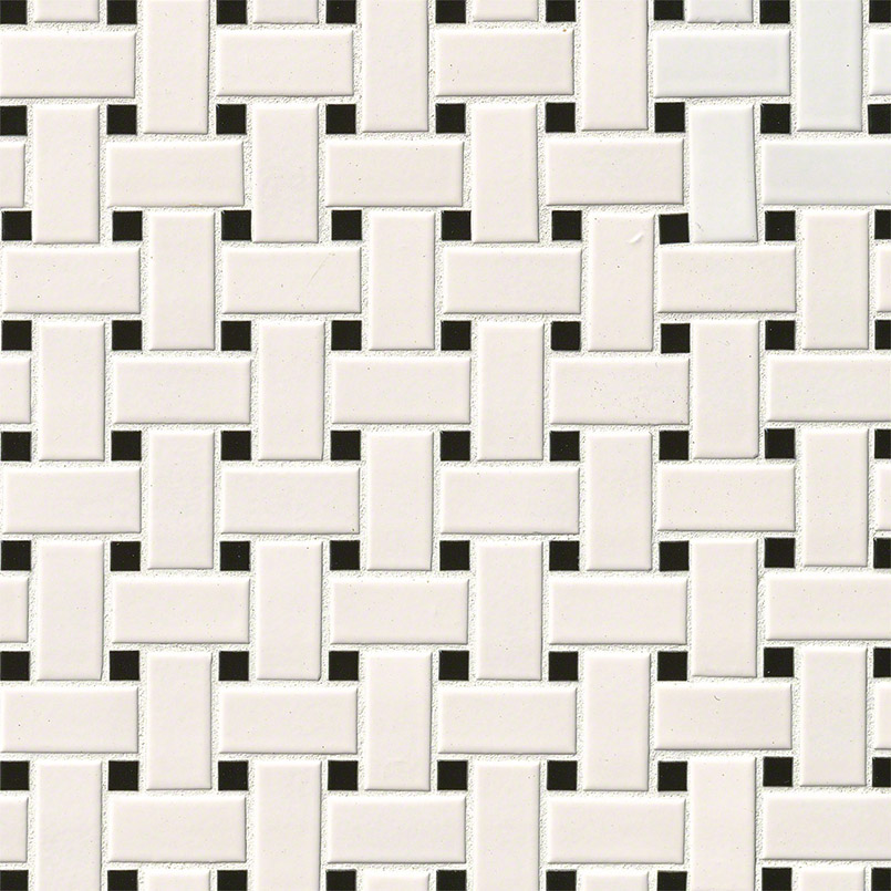 White Black Matte Basket Weave Wall
