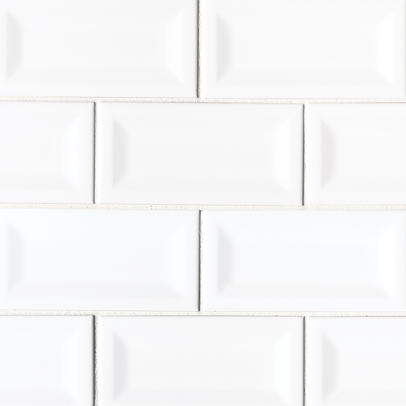beveled subway tile design | White Glossy Inverted Subway Tile Backsplash Tile | White Tile