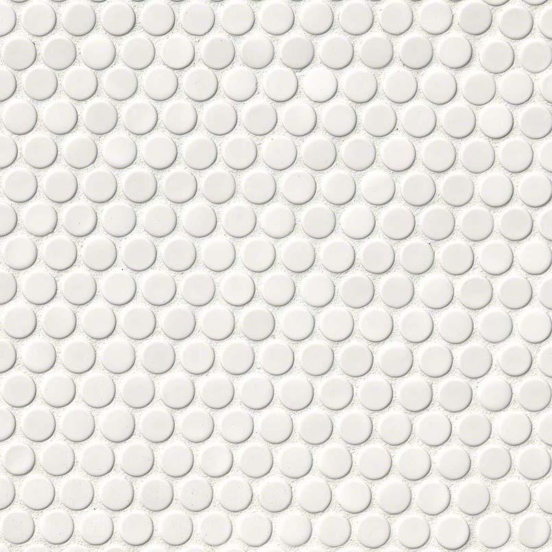 White Glossy Penny Round Backsplash Tile White Tile