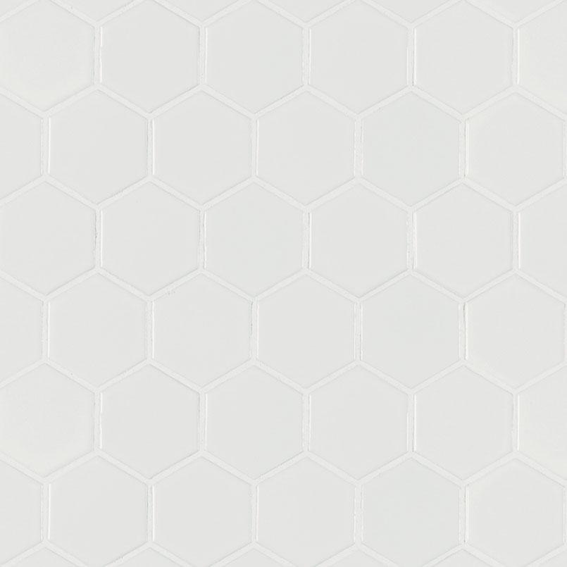 White Matte 2x2 Hexagon Backsplash Tile