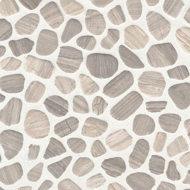 White Oak Pebbles Tumbled Pattern 10mm Pebble Backsplash