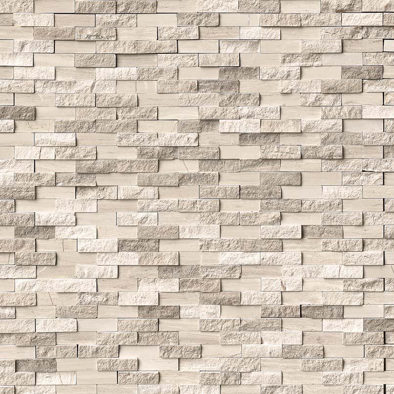 White Oak Splitface Pattern Marble Backsplash Tile