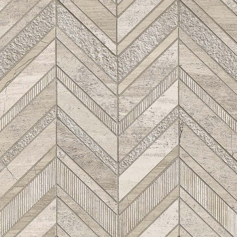 White Quarry Chevron Pattern Marble Backsplash Tile