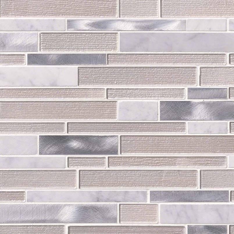 White Wave Interlocking Pattern 4mm Decorative Mosaic Tile