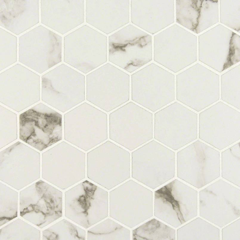 "Pietra Statuario 2"" Hexagon Matte Porcelain Tile"