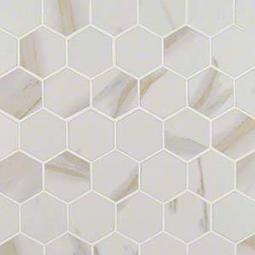 "Pietra Calacatta 2"" Hexagon Matte Porcelain Tile"