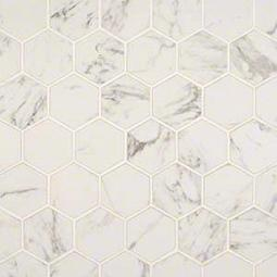 "Pietra Carrara 2"" Hexagon Matte Porcelain Tile"