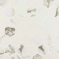 "Pietra Statuario 2"" Hexagon Matte Porcelain Tile"