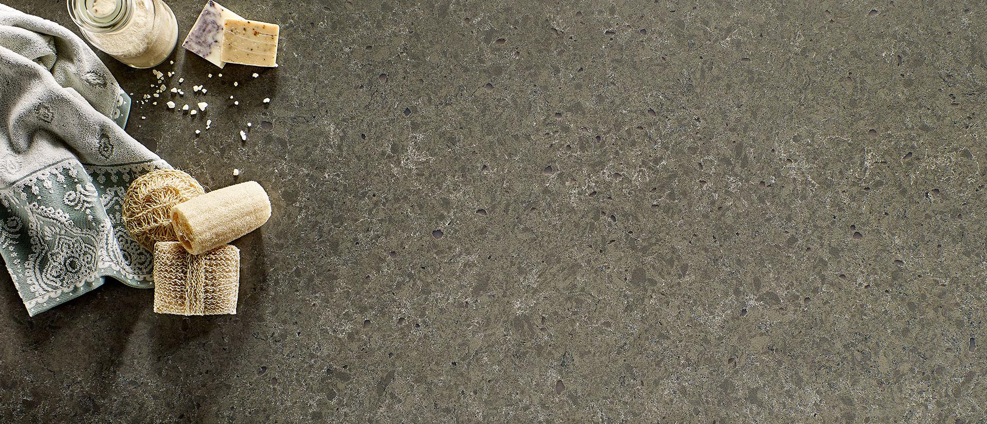 Babylon Gray Concrete Quartz Countertops Vignette 4