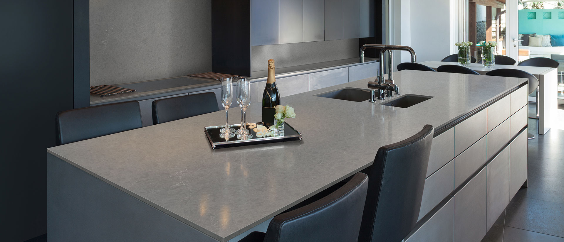 Vena Carbona Grey Quartz Countertops