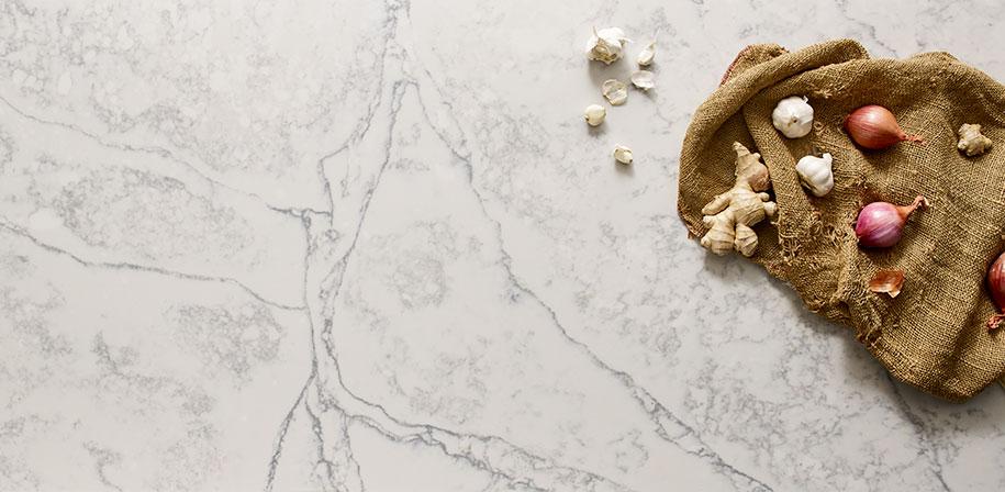 Calacatta Pearl Quartz White Countertop Vignette