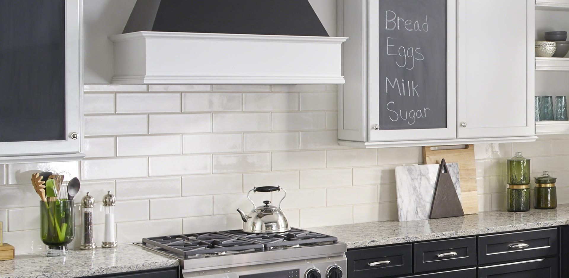 Pacific Salt Quartz Countertops Details Antique White Glazed Handcrafted 4x12 Backsplash Walltile