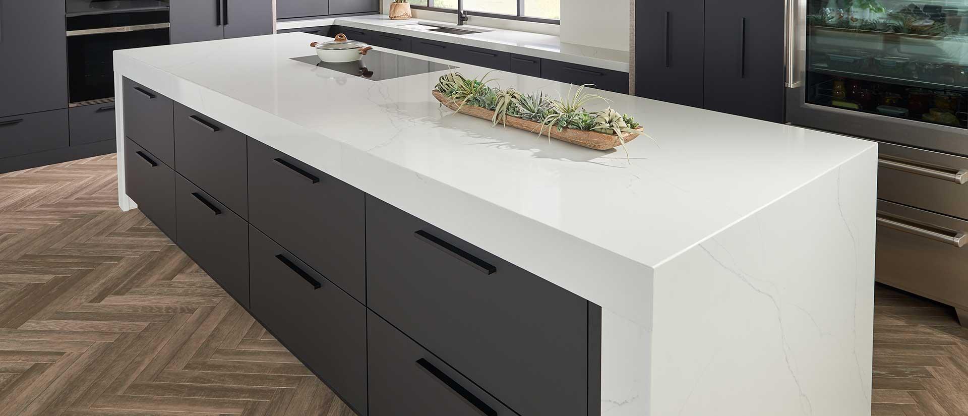 Calacatta trevi Quartz White Marble Looks Room Scene