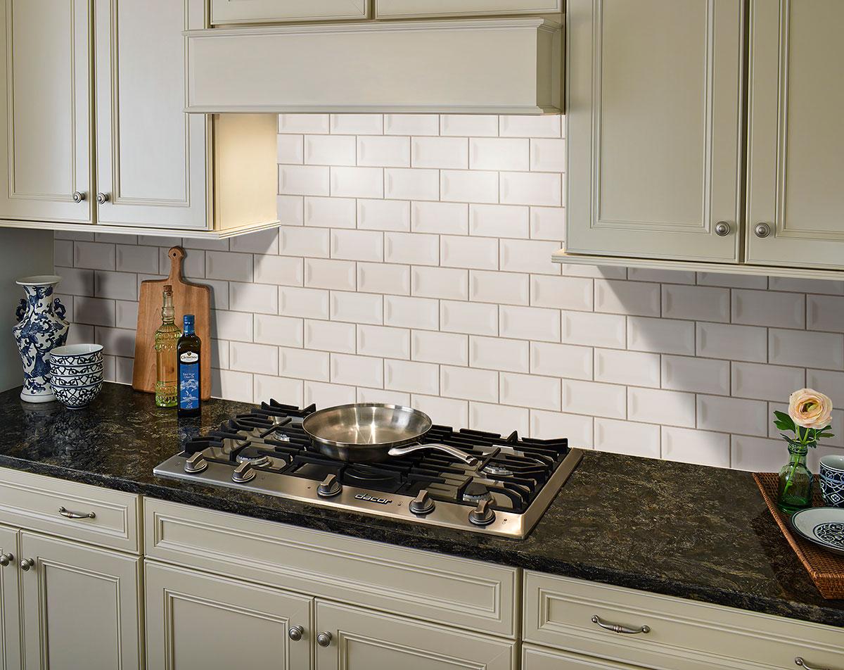 - Almond Glossy Inverted Beveled Subway Tile Ceramic Tile