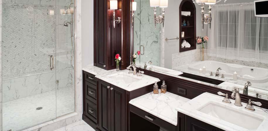 Arabescato Carrara Herringbone Pattern Honed In Mesh Room Scene