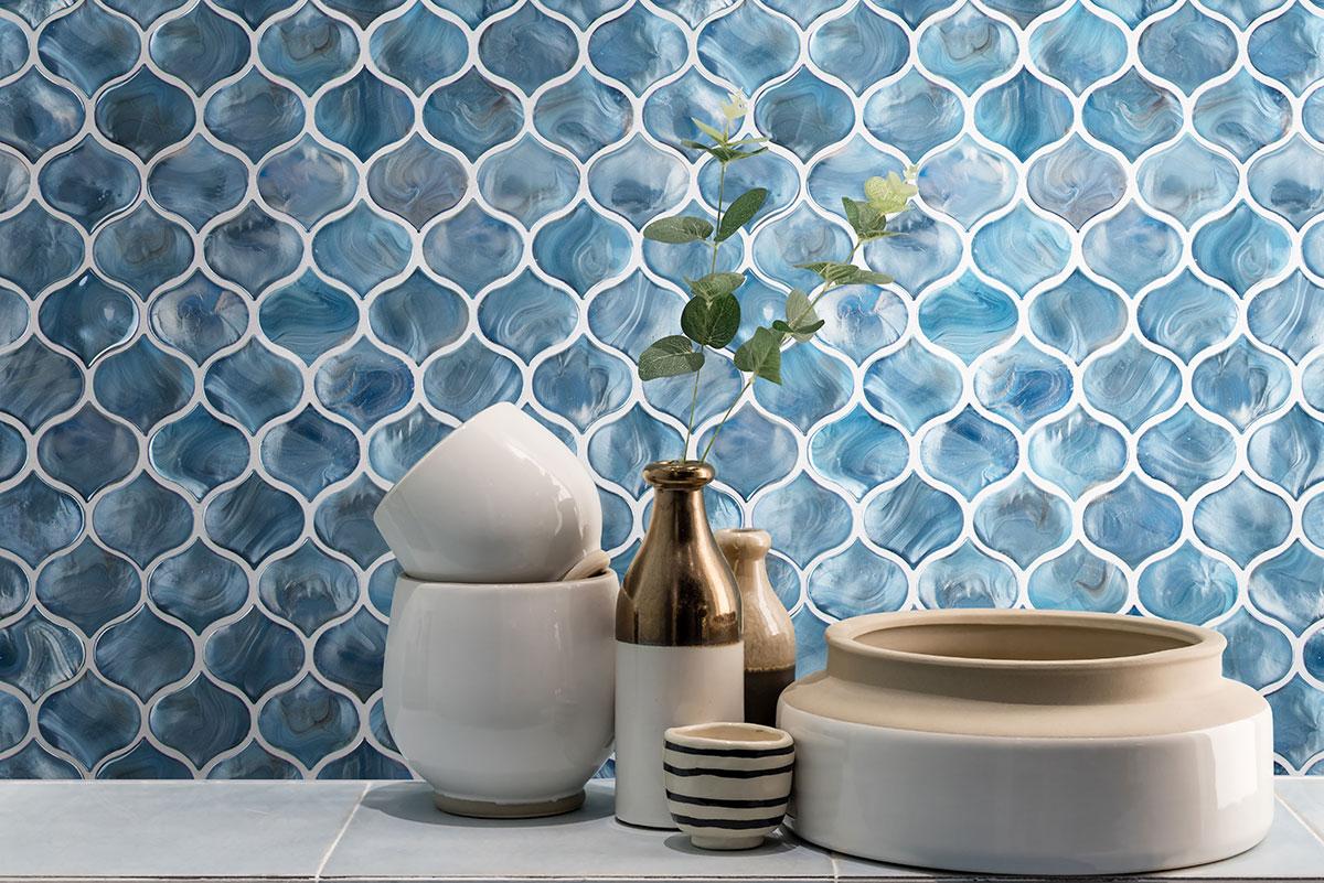 - Blue Shimmer Arabesque Subway Tile |Glass Mosaics Subway Tile