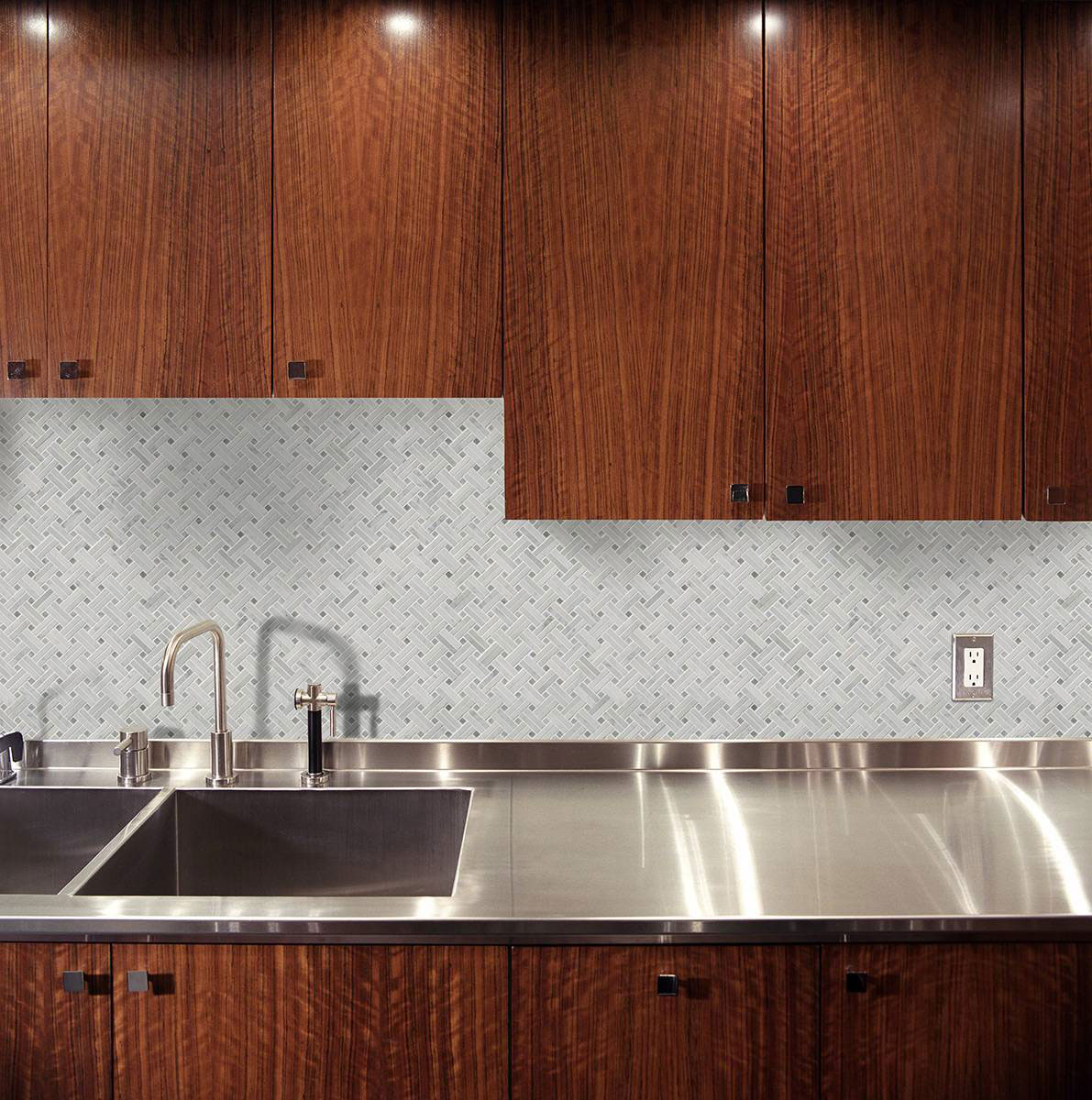 - Carrara White Basketweave Pattern Polished - Mosaics