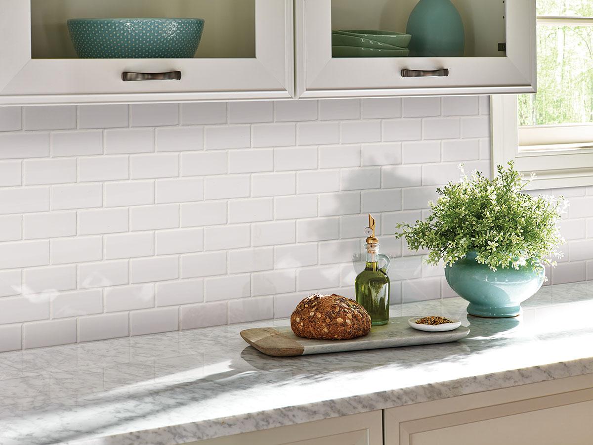 Domino White Glossy Subway Tile Backsplash Ceramic Wall Tile